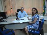 01 – O superintendente da Suest/MS Marco Santullo e a prefeita Patricia em cerimônia de aprovação da licitação para SAA no assentamento